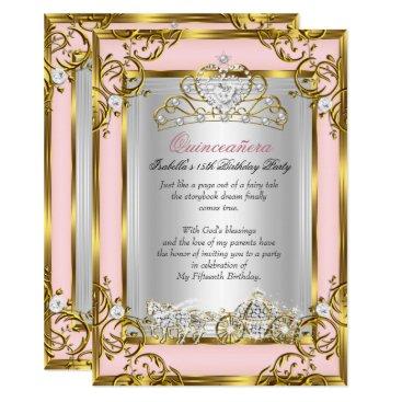 Zizzago Princess Quinceanera 15th Birthday Pink Peach Card