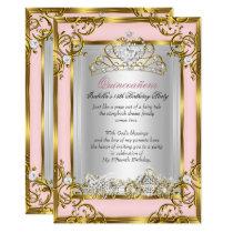 Princess Quinceanera 15th Birthday Pink Peach Invitation