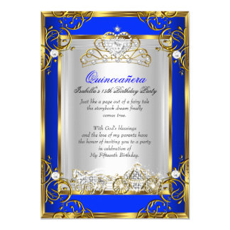 Princess Quinceanera 15th Birthday Royal Blue 2 Card