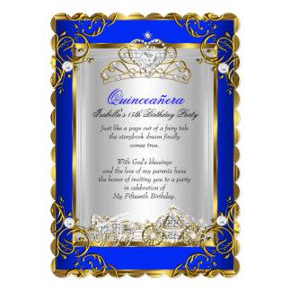 Princess Quinceanera 15th Birthday Royal Blue 2 Card