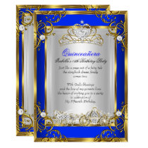 Princess Quinceanera 15th Birthday Royal Blue 2 Invitation