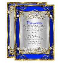 Princess Quinceanera 15th Birthday Royal Blue 2 Invitation