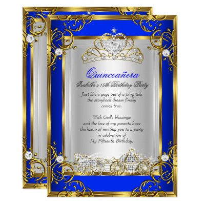 Princess Quinceanera Royal Blue 15th Birthday 2 Invitation Zazzle Com