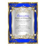 Princess Quinceanera 15th Birthday Royal Blue 2 5x7 Paper Invitation Card