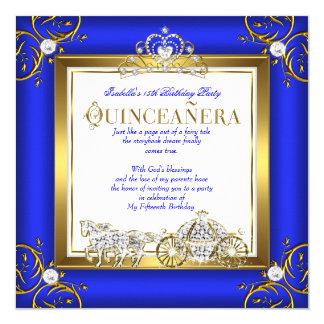 Princess Quinceanera 15th Birthday Royal Blue Gold Card