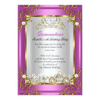 Princess Quinceanera 15th Birthday Royal Pink Card