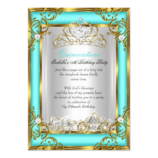 Princess Quinceanera 15th Birthday Teal Aqua 5x7 Paper Invitation Card