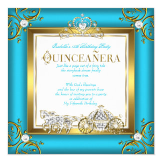 Princess Quinceanera 15th Birthday Teal Blue Gold Card
