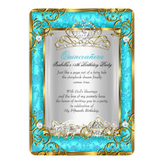 Princess Quinceanera 15th Birthday Teal Damask Card