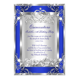 Princess Quinceanera 15th Party Deep Blue Silver Card