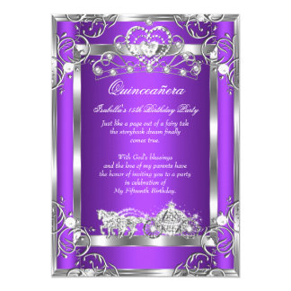 Princess Quinceanera 15th Party Purple Silver Card
