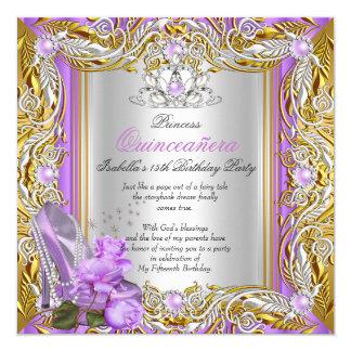Princess Quinceanera Birthday Purple Rose Gold 2 Card
