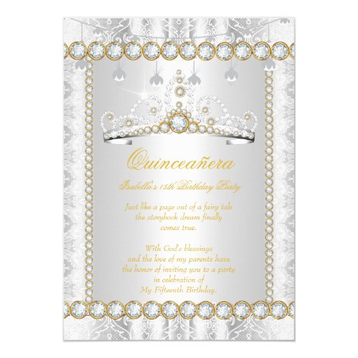 Princess Quinceanera Diamond Lace Gold Silver Card