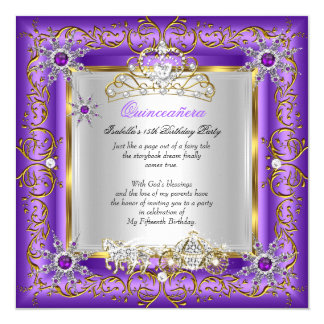 Princess Quinceanera Elite Birthday Gold Purple Card