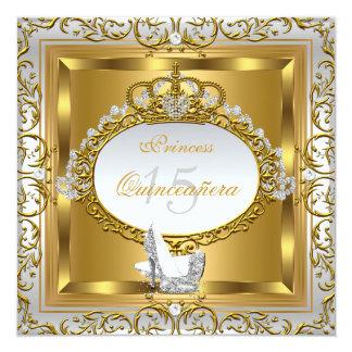 Princess Quinceanera Elite Elegant Gold High Heels Card