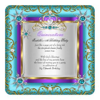 Princess Quinceanera Elite Gold Silver Teal Purple Card