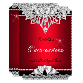 Princess Quinceanera Girl Red Black 15th Card
