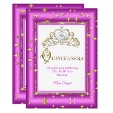 Princess Quinceanera Gold Purple Pink Birthday Invitation