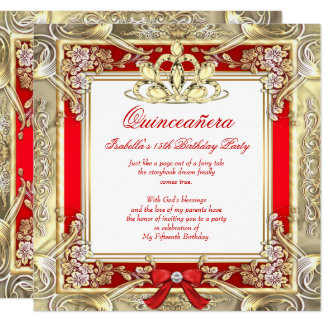 Princess Quinceanera Gold Red Silver White Card