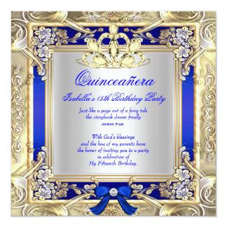 Princess Quinceanera Gold Royal Blue Silver 2 Card
