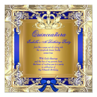 Princess Quinceanera Gold Royal Blue Silver Party Card