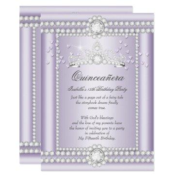 Valentines Themed Princess Quinceanera Lilac Hearts Diamond Tiara Card