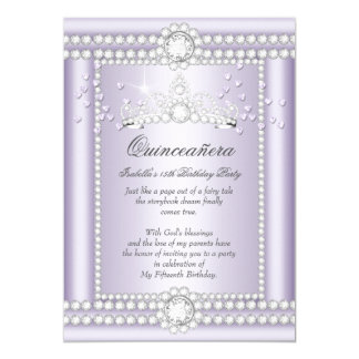 Princess Quinceanera Lilac Hearts Diamond Tiara Card