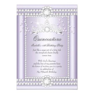 Princess Quinceanera Lilac Hearts Diamond Tiara Card