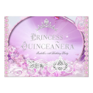 Princess Quinceanera Magical Pink Purple Silver 3 Card