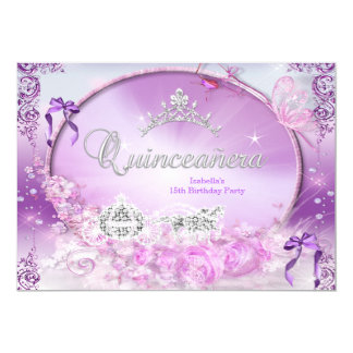 Princess Quinceanera Magical Purple Carriage Card