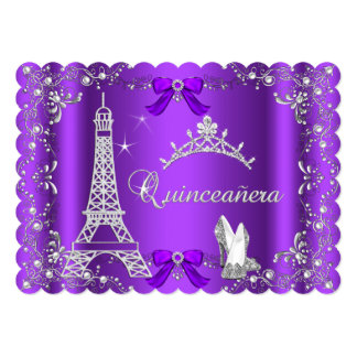 Princess Quinceanera Magical Purple Silver Heels Card