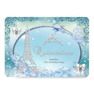Princess Quinceanera Magical Teal Blue Silver 5x7 Paper Invitation Card