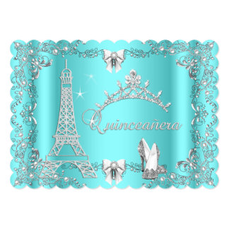 Princess Quinceanera Magical Teal Blue Silver heel Card