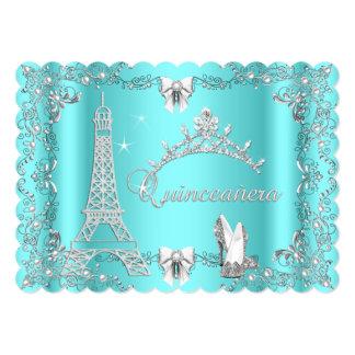 Princess Quinceanera Magical Teal Blue Silver heel 5x7 Paper Invitation Card