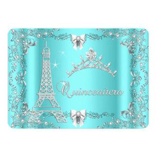 Princess Quinceanera Magical Teal Blue Silver Custom Invitations