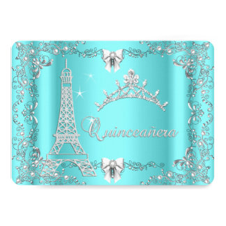 Princess Quinceanera Magical Teal Blue Silver 5x7 Paper Invitation Card