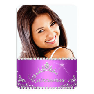 Princess Quinceanera Photo Purple Pink Card