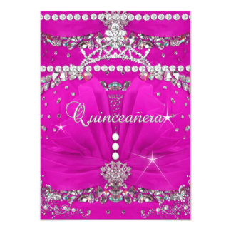 Princess Quinceanera Pink Bejewelled Dress Card