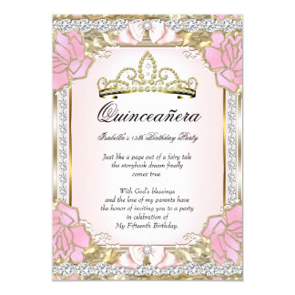 Princess Quinceanera Pink Gold 15th Birthday 2 Card