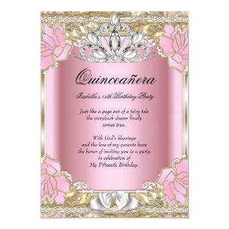 Princess Quinceanera Pink Gold 15th Birthday Party 5x7 Paper Invitation Card
