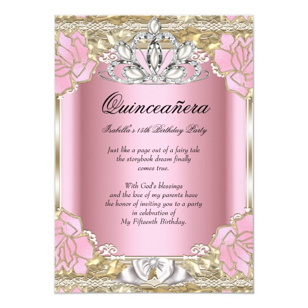 Princess Quinceanera Pink Gold 15th Birthday Party Card ...
