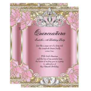 15th birthday party invitations announcements zazzle princess quinceanera pink gold 15th birthday party invitation filmwisefo