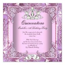 Princess Quinceanera Pink Purple 15th Birthday Invitation
