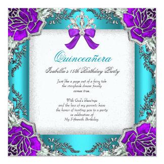 Princess Quinceanera Purple Teal 15th Birthday Card