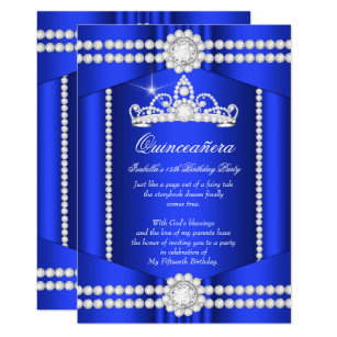 Princess blue diamond tiara birthday invitations zazzle princess quinceanera royal blue diamond tiara invitation stopboris Images