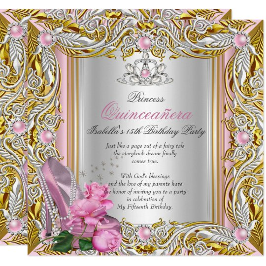 Princess Quinceanera Silver Pink Rose Gold Invitation