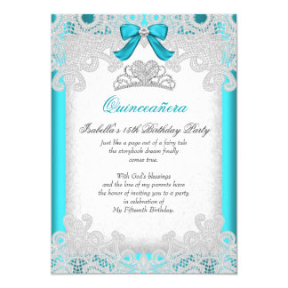Princess Quinceanera Teal Blue Lace 5x7 Paper Invitation Card