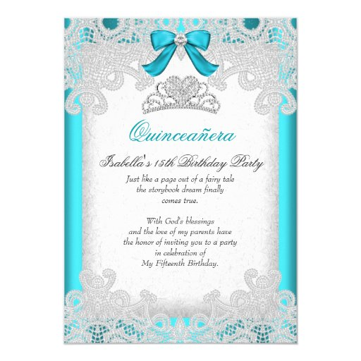 Princess Quinceanera Teal Blue Lace Card