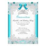 Princess Quinceanera Teal Blue Lace Invitations