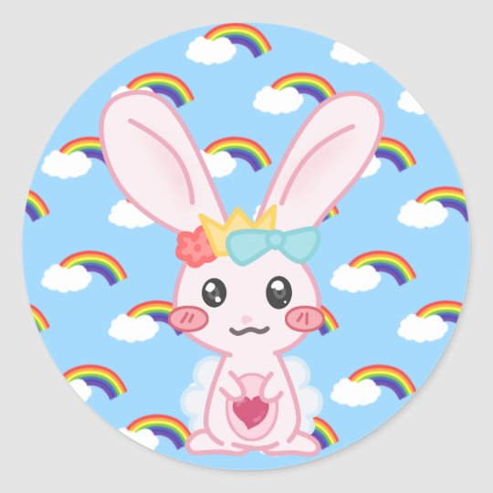 Princess Rainbow Classic Round Sticker